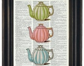 Upcycled Three Pastel Teapots Print on Vintage Dictionary Page  8 x 10