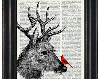 BOGO 1/2 OFF Dictionary Print Cardinal and Deer Art Print Dictionary HHP Original Book Page Print Upcycle Art Book Art Cardinal and Deer