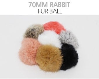 1 PCS 2.75'' Real Rabbit Fur Ball - Pick Your Colors - 3 Different Colors