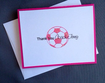 Soccer Ball, Soccer Coach Gift, Coach GIft, Thank you, Thank You Notes, Personalized Thank You, All Sports Available for Customization