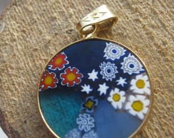 Vintage Millefiori Italian Murano Glass and Gold Plated on Sterling Silver Ladies Pendant Flowers Daisy