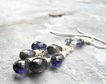 Iolite Earrings Trio Cascade midnight blue, Sterling Silver Dangle Earrings