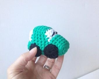 Green Crochet Race Car Amigurumi VW Bug
