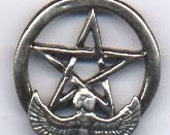Egyptian Goddess Isis Pentacle in Sterling Silver Pagan Wiccan Jewelry Pent038
