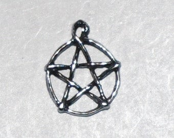 Small Sterling Silver Pentacle Pentagram Wiccan Jewelry Charm Pent156