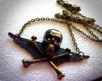 40% OFF SALE! - Antique Brass Skull Necklace, Gothic, Goth, Wings Necklace