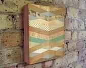 Geometric Art - Chevron Art - Wood Block Wall Art Print - Mid Century Art