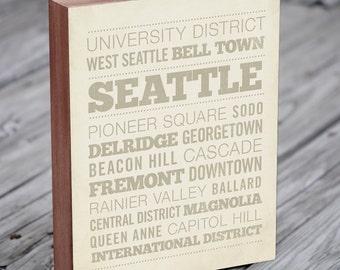 Seattle Neighborhood Art Print - Wood Block Wall Art Print - Seattle Art