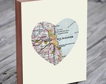Milwaukee - Milwaukee Art - Milwaukee Map - Milwaukee Map Art - City Heart Map - Wood Block Art Print