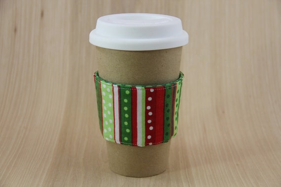 Reversible Coffee Cup Sleeve - Christmas Stripes - Ready to Ship