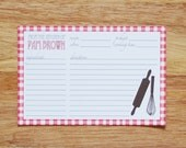 Personalized Red Picnic Recipe Cards - Set of 12