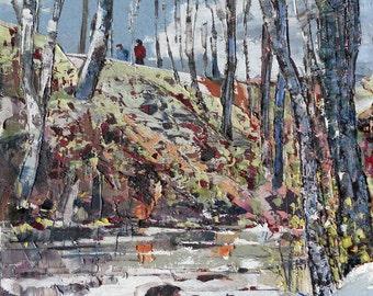 Original oil painting on canvas, winter painting, winter landscape, wall decor, Canadian landscape painting, palette knife art