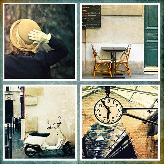 Special Sale Price, Fine Art Photography, Set of 4 Individual 5x5 Prints, Paris Photos, City Scene Photos