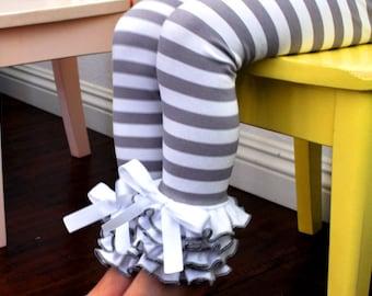 Grey & White Stripe Leggings with Full Ruffles / Baby Girls Leggings---0M-18M