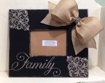 Hand Painted Family Frame in Black