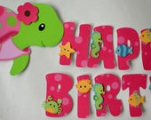 Pink Girl TURTLE First Birthday Party or Baby Shower Decorations - Personalized Name/Age