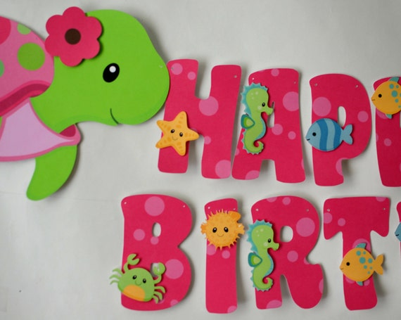 Pink girl turtle first birthday party or baby shower for Baby name decoration ideas