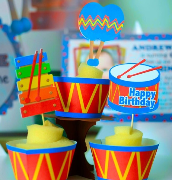 Baby Boy First Birthday Music Party CUPCAKE TOPPERS And