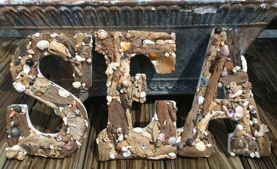 Weathered Driftwood & Natural Seashell Topped Letters Word SEA for Coastal Home Decor Nautical Style, Expression, Inspirational, Weddings