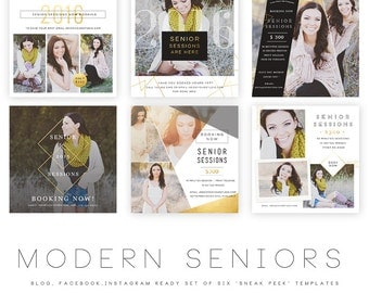 INSTANT DOWNLOAD  Modern Seniors vol 2 Blog, Facebook and Instagram ready Templates