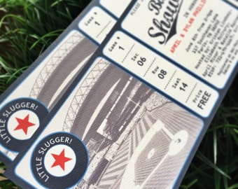 BASEBALL Ticket BABY shower invitation - set of 30