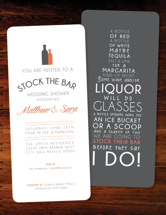 Stock The Bar Invitations set of 20 by Polkaprints Cards Prints