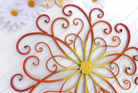 Red Metal Wall Decor: RED // Yellow//ORANGE// Large Metal Wall Art // By