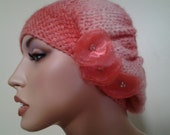 Clochet hat, added fabric flowers