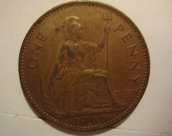 1966 United Kingdom, British Coin, Bronze One Penny - Queen Elizabeth II 1st portrait