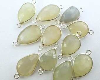 MOONSTONE. White Moonstones. CoNNEcTOR LiNKS. Natural. Flat Rose Cut. Pear Shape. STERLiNg SiLver. 5 pc. 20.0 cts. 13 to 15 mm (C-Ms6silv)