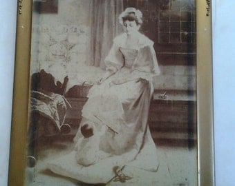 c1800s Photo on Gold Gilt and Floral Frame of Woman Watching Her Infant Play Ship in Background