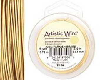 Non Tarnish Brass Artistic Wire 20 ga. 1/4 lb.