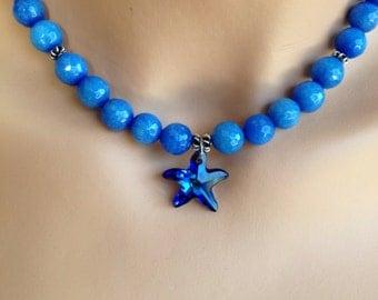 Blue Starfish Necklace