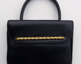 Vintage 60s Purse Handbag in Black Vinyl with Goldtone Trim