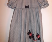 SALE SALE Black and white Harris tweed  toddler or large doll dress black Scottie trim  cute   3T