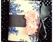 Handmade Mini Photo Album/ Brag book with Creme and blue toile and grey ribbon and pink rosette closure