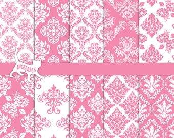 Pink damask digital paper Pink digital paper Pastel digital paper scrapbook paper printable paper pink paper Commercial use