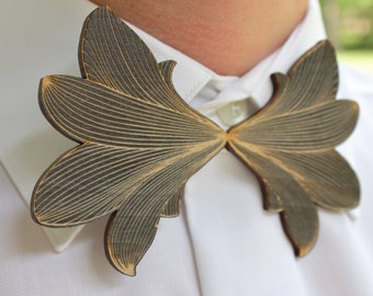 Wooden Intricate Laser Cut Bow Tie - Handsome Mens Gift from Black Stained Alder Wood