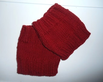 Red Boot Cuffs, Fall and winter boot accessories,  Hand knit,  Short leg warmers,  Basic style, One size fits all,