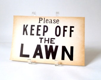 Vintage Paper Please Keep Off the Lawn Signs … Hardware Store Signs, Yard Signage, 1970s Paper Ephemera, Medium Size, Private Property