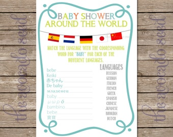 Baby Shower Game - Baby Showers Around the World - Instant Download Printable 2 per sheet