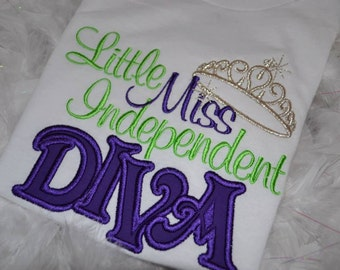 Little Miss Independent Diva embroidered t shirt
