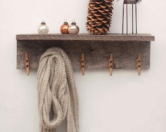 Reclaimed Wood Boat Cleat Coat Rack Shelf - 24 Inches