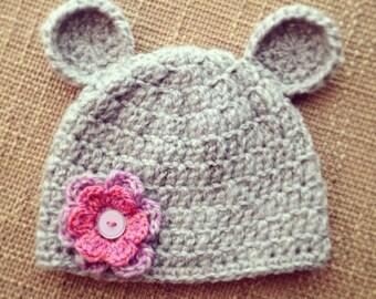 Gray Teddy Bear Crochet Beanie with Pink Flower