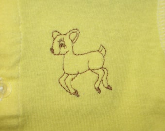 Embroidered Shirt, Baby Deer Vintage Design Style, Baby Tshirt, Yellow, Size 3 Months, RTS