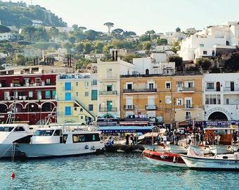 Capri Italy Photography - Nautical Home Decor Mediterranean Wall Art Colorful Village Print Seaside Photo Italian Travel Photography