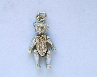 sterling silver teddy bear charm with movable arms and legs vintage baby charms, charm bracelet