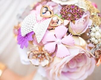 Brooch Bouquet - Custom Medium Bridal Bouquet Romantic Silk Flowers & Enamel Brooches Made to Order Blush Pink Lavender Purple White Pastel