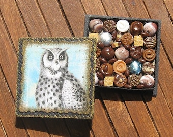 Dollhouse Miniature Box of Chocolates 12th Scale Owl Woodland Natural