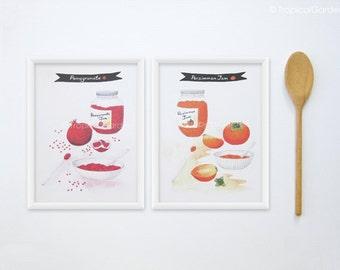 Jam Watercolor Print Set - Any TWO 8x11 Kitchen Art & Food Print - Kitchen Poster / Kitchen Decor
